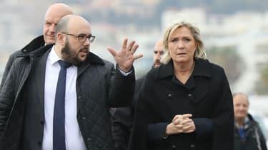 Philippe Vardon et Marine Le Pen le 13 février 2017 à Nice.
