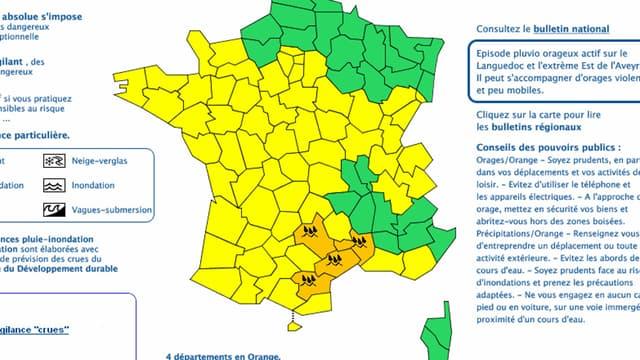 La carte de vigilance orange pour pluies orageuses de Météo France, bulletin de 6h10.