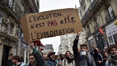 Durant la manifestation étudiante contre le projet de loi Travail à Nantes, le 24 mars 2016.