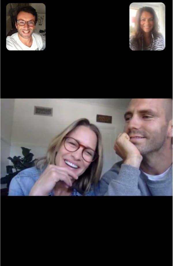 Carole et Antoine, en discussion zoom avec Robin Wright et Clément Giraudet