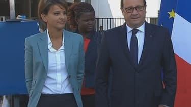 François Hollande et Najat Vallaud-Belkacem à Clichy-sous-Bois, mardi.