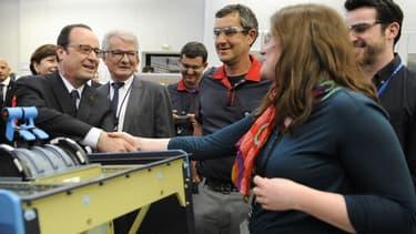François Hollande lors de sa visite chez Figeac Aéro le 14 avril dernier