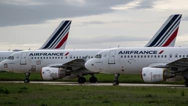 Des avions Air France sur le tarmac de l'aéroport de Roissy-Charles-de-Gaulle pendant l'épidémie de coronavirus, en avril 2020