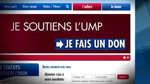 La plate-forme de dons de l'UMP sur Internet.