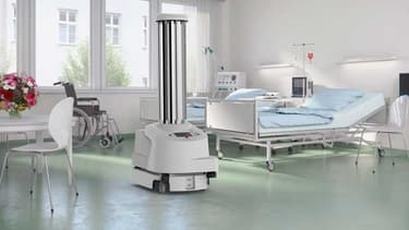 Le robot de la firme Blue Ocean Robotics se déplace de manière autonome dans les chambres des patients et les salles d'opération – couvrant toutes les surfaces critiques avec la bonne quantité de lumière ultra-violette afin de tuer des virus et des bactéries.