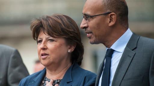 Martine Aubry avec Harlem Désir le 12 septembre 2012 pour le congrès du parti.