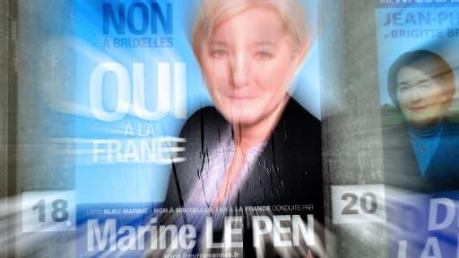 Affiche de campagne de Marine Le Pen à Denain, dans le Nord, ce lundi 26 mai.