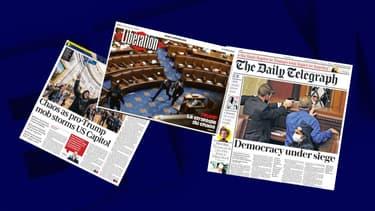 Quelques Unes de la presse française et anglaise, au lendemain de l'intrusion violentes de partisans pro-Trump dans le Capitole