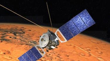 Mars express est en orbite autour de la planète Mars depuis le 2 juin 2003.