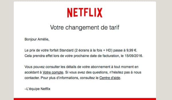 Le mail envoyé par Netflix à ses abonnés historiques.