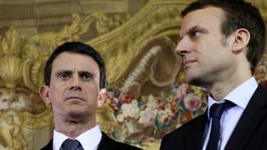 Manuel Valls et Emmanuel Macron le 8 février 2016.