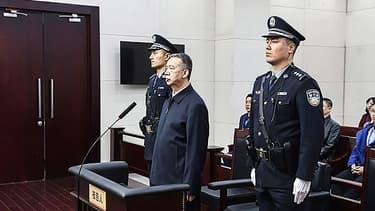 L'ex-président d'Interpol, Meng Hongwei durant son jugement, à Tianjin, en Chine, le 21 janvier 2020