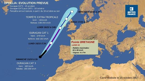 La trajectoire de l'ouragan Ophelia.