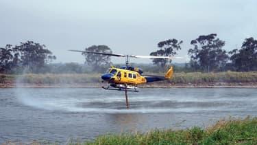 Un hélicoptère bombardier remplit ses réservoirs d'eau dans le Queensland, en Australie, le 29 novembre 2018 (photo d'illustration)