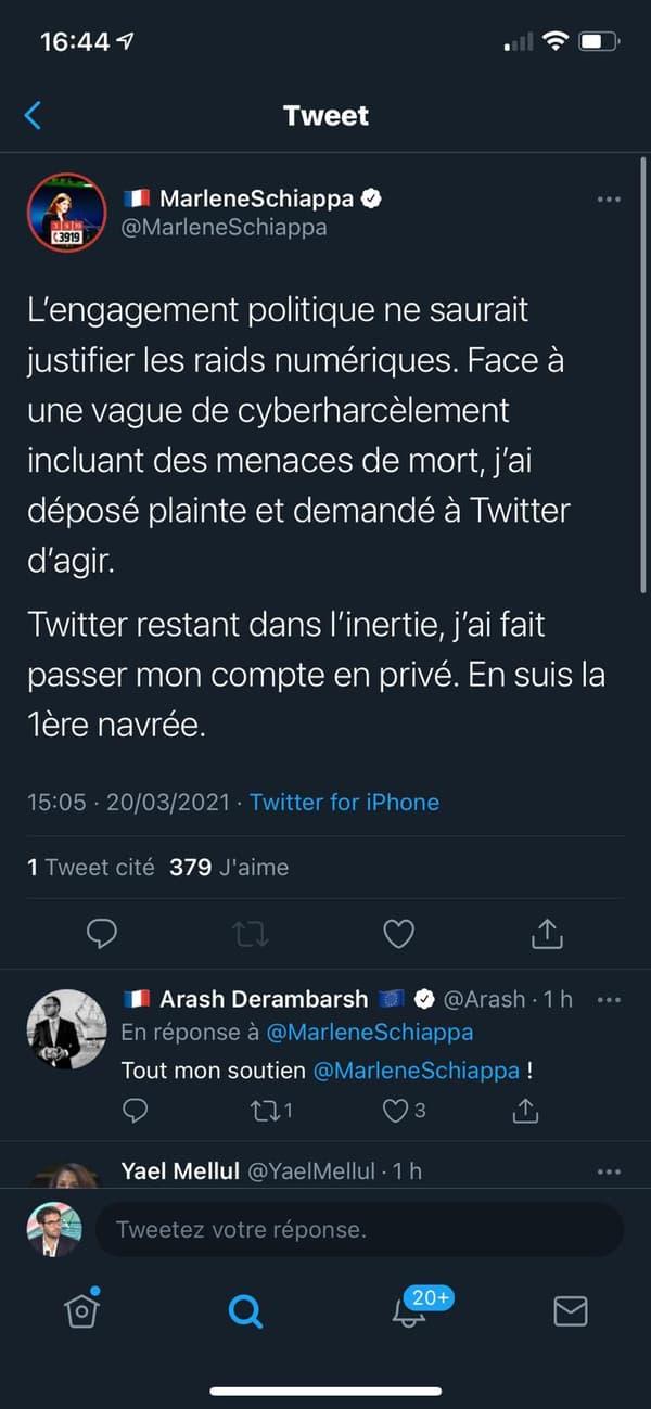 Le dernier message de Marlène Schiappa sur Twitter, le 20 mars 2021