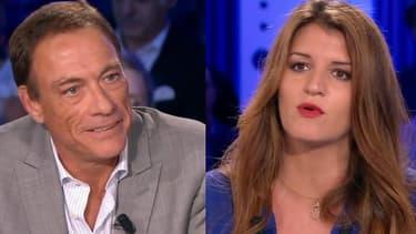 """Jean-Claude Van Damme et Marlène Schiappa dans """"On n'est pas couché"""", le 30 juin 2018."""