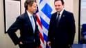 Le ministre grec des Finances, Georges Papaconstantinou (à droite), reçu à Washington par le secrétaire américain au Trésor, Timothy Geithner. Les dirigeants grecs ont multiplié samedi les entretiens avec les responsables de la finance mondiale alors que