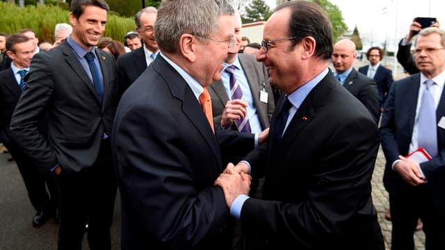 Thomas Bach et François Hollande