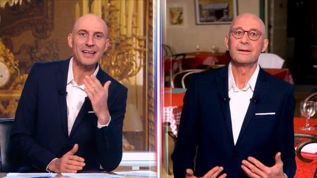 L'humoriste Nicolas Canteloup transformé en Emmanuel Macron et François Hollande par la magie de la technologie.