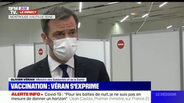 """Pour Olivier Véran, """"nous sommes sur la bonne voie pour arriver"""" à 20 millions de primo-vaccinés à la mi-mai"""