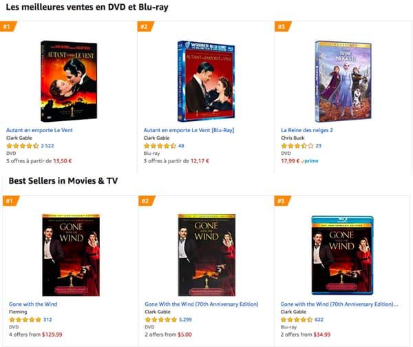 Autant en emporte le vent premier des ventes sur Amazon