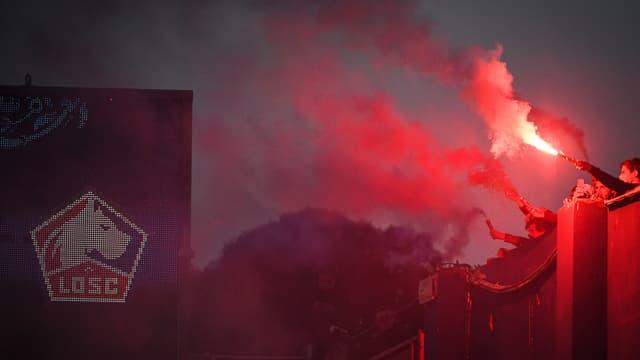 Les supporters du Gazélec Ajaccio face à Lille en Coupe de France