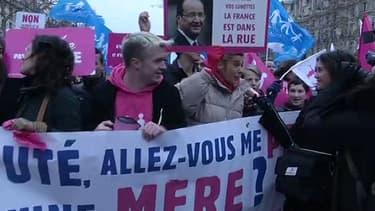 """200 opposants au mariage homosexuel ont organisé dimanche un """"happening"""" sur les Champs Elysées"""
