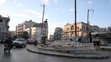 Le centre de la ville d'Ariha ce mardi, dans la province d'Idleb au nord-ouest de la Syrie.