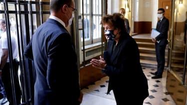 La ministre de la Culture Roselyne Bachelot et le Premier ministre Jean Castex avant une réunion avec les représentants du spectacle, le 27 août 2020 à Paris
