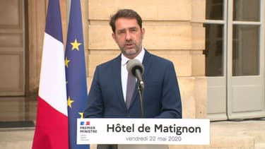 Point presse de Christophe Castaner sur les élections municipales à Matignon, le 22 mai 2020