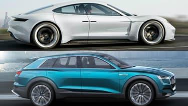 Porsche Mission E (en haut) et Audi e-tron quattro... Les Allemands ne veulent pas laisser Tesla rouler sur leurs plates-bandes