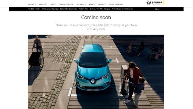 Le configurateur de la nouvelle Renault Zoé sur le site britannique de la marque.