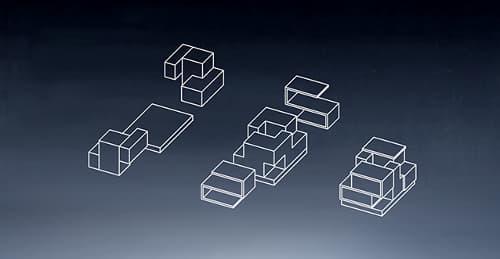 La Prenuptial House est composée d'un socle et deux unités pouvant être séparées.
