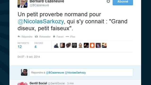 Cazeneuve moque Sarkozy