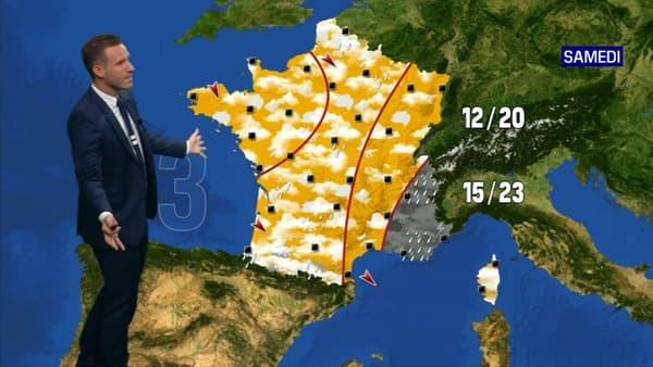 Les températures en France samedi.
