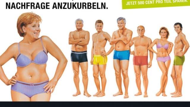 Angela Merkel, dessinée en sous-vêtement sur une affiche de 100 mètres carré placardée en plein Berlin, ne moufte pas.