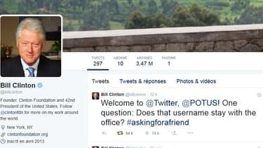Bill Clinton a charrié Barack Obama sur Twitter, lundi, après l'ouverture de son compte personnel.