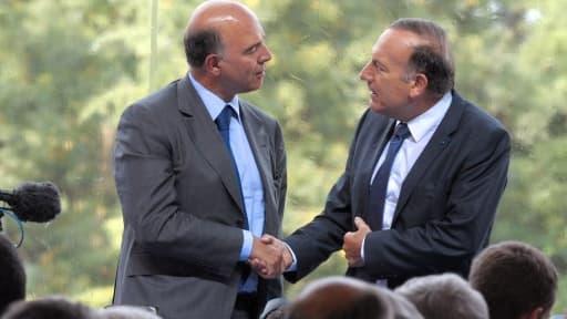 Pierre Moscovici et Pierre Gattaz, lors de l'université du Medef, jeudi 29 août.