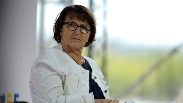 La présidente de la FNSEA Christiane Lambert, à l'université d'été du Medef, à Paris le 27 août 2020