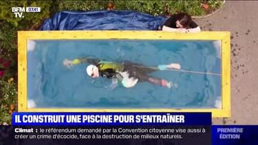 Arnaché à un élastique, ce triathlète aveugle s'entraîne dans sa petite piscine en Irlande