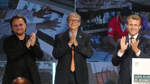 Emmanuel Macron en compagnie de Bill Gates et Bono