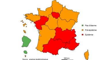 La carte de l'épidémie