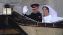 """Le prince Harry et Meghan Markle, après s'être dit """"oui"""" le samedi 19 mai."""