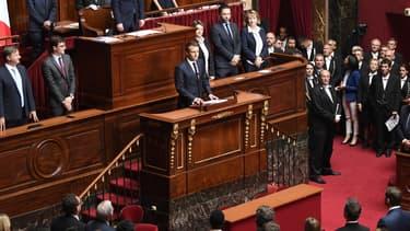 Le président de la République en Congrès à Versailles, le 3 juillet 2017.