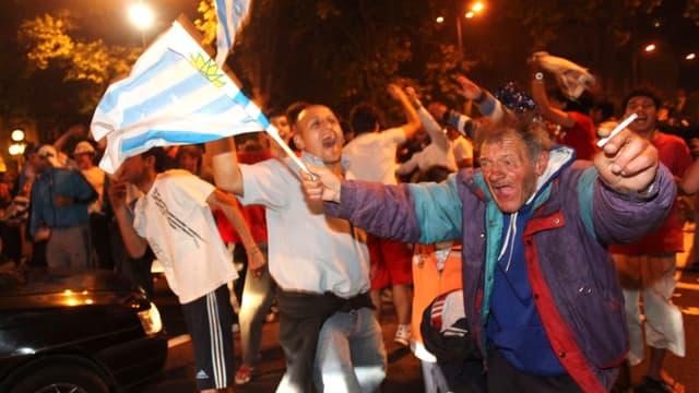 La fête à Montevideo après la qualification pour le Mondial 2010