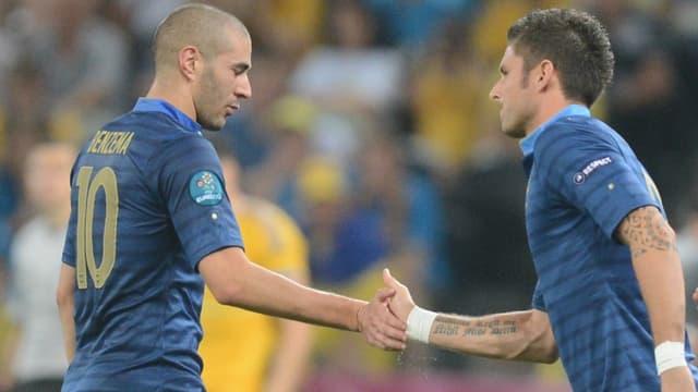 Olivier Giroud et Karim Benzema