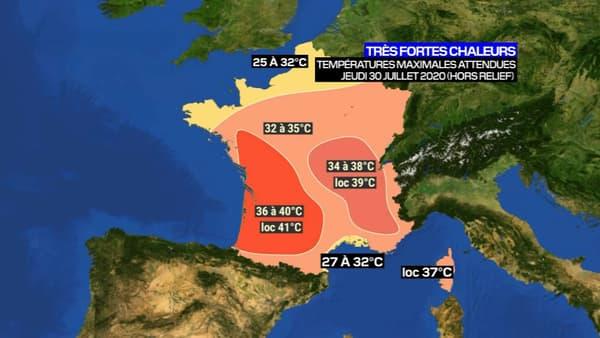 Les températures maximales attendues jeudi en France.