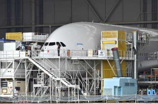 Un avion Airbus à l'usine de Toulouse-Blagnac en juin 2017