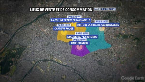Les lieux de consommation et de vente du crack se concentrent dans le nord de Paris.
