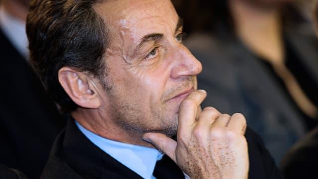 Nicolas Sarkozy lors d'un meeting de campagne de Nathalie Kosciusko-Morizet en février 2014 à Paris
